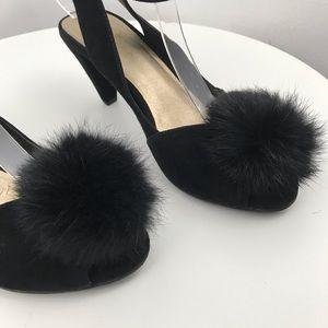 SEYCHELLES black suede peep toe sandals fur